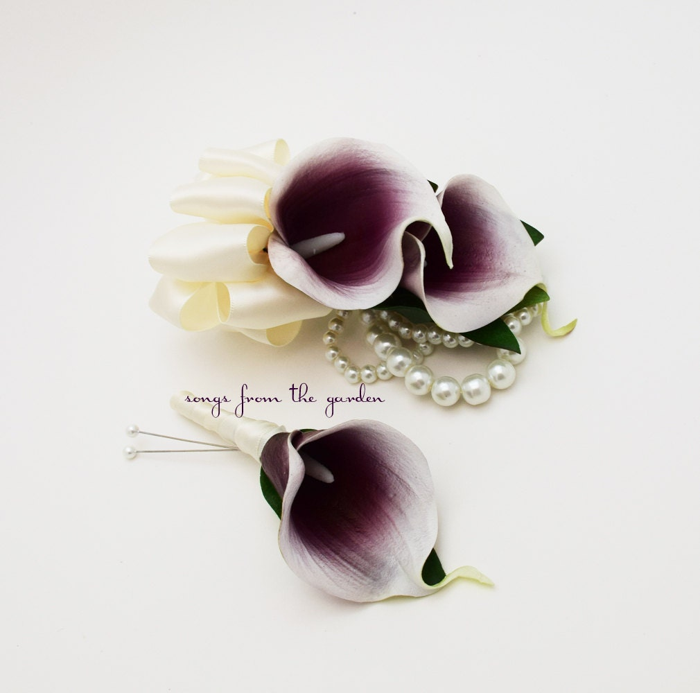 Real Touch Picasso Calla Lily Boutonniere Corsage Wedding