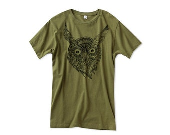 Mens Owl TShirt  - Army Green Owl Shirt - Small, Medium, Large, XL, 2XL - Guys Owl Shirt (14 Color Options)