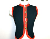 MOSCHINO CHEAP and CHIC Vintage Vest Iconic Black Wool Russian Button - Authentic -