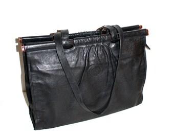 FENDI Vintage Handbag Black Leather Tortoise Bar Shopper Tote - AUTHENTIC -
