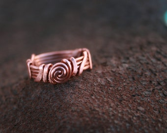 Copper Gallaxy Ring, size 4.5, spirals, pinky ring,  sale, recycled copper, Lemurian diamond, Bibi
