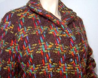 1960s coat - Medium / Large - knee length bright colorful wool tweed stroller - chunky - dark brown knit - giant weave