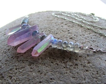 Sterling Silver Pink Crystal Quartz Rainbow Coated Spike Necklace with Natural Labradorite Gemstone Beads CHARGED with POSITIVE ENERGY