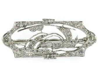 Great Gatsby Art Deco diamond boat brooch platinum 1920s Vintage Jewelry