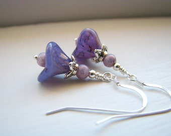 Dreamy Periwinkle Czech Glass Flower Earrings in Silver