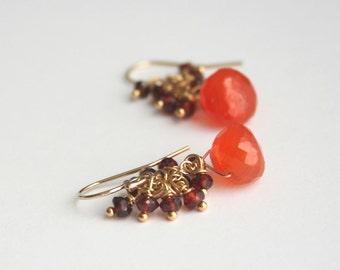 Garnet Earrings, Carnelian Earrings, Gemstone Earrings