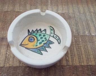 Little Vintage Italian Pottery Fish Ashtray