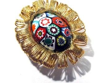 Murano Millefiori Pendant Watch Case VINTAGE Glass Cabochon Venetian Glass Gold Watch Case Watch Maker Jewelry Supplies (D31)