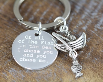 Valentine's Gift Keyring for Him , Fishing Key Ring , Personalized Engraved Keychain, Anniversary Gift, Wedding Gift