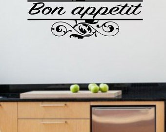 Bon Appetit - Vinyl Kitchen Wall Decal - Kitchen Home Decor - Removable Dining Room Decal - Enjoy Your Meal Wall Sticker - DIY Kitchen Decal