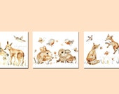 3 Woodland Prints, Woodland Nursery Decor, Deer, Storybook style, Nursery Paintings, Print Set of 3, Watercolor Animal Prints, fox, bunny