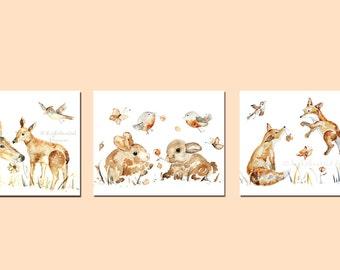 Set of 3 Woodland Prints, Baby Girl Nursery, Print Set, Woodland Nursery Decor, Deer, Baby Girl Gift, Watercolor Animal Prints, fox, bunny