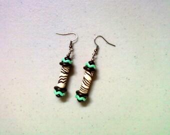 Turquoise and Zebra Stripe Earrings (1384)