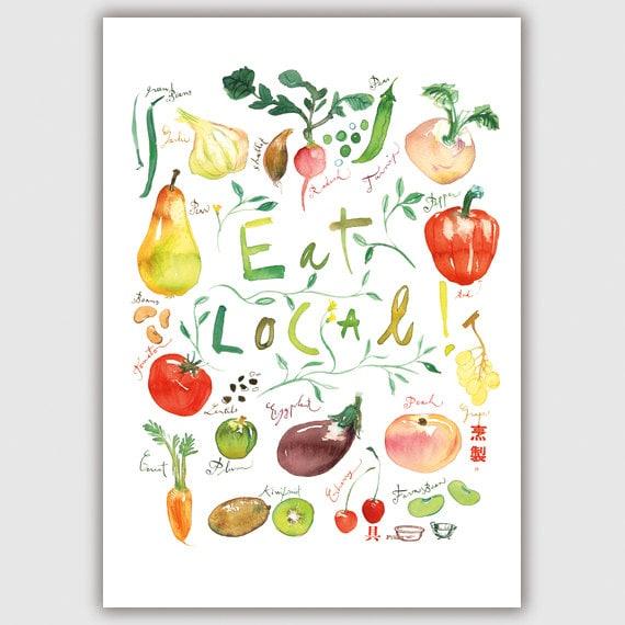 Kitchen Wall Decor Vegetables : Items similar to eat local print kitchen decor