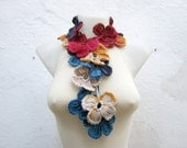 Scarf, Rainbow Crochet Scarf, Lariat Scarves, Flower Necklace, Crocheted Jewelry, Women Crocheted  Accessories, Red Craem Yellow Blue