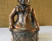 VINTAGE COPPER CAST Pinocchio Bank Copper Clown Bank Jack In The Box Sitting On Toy Drum Copper With Verdigis Patina Mid Century Kids Decor