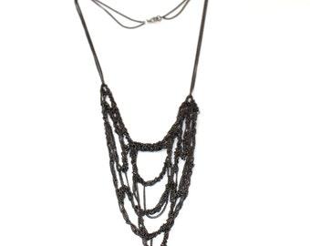 Gunmetal Boho Necklace, Freestyle Gray Crochet Bib Necklace, Bohemian Dark Grey handwoven metal chain