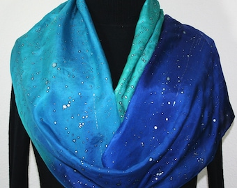 Silk Scarf Hand Painted Blue Turquoise Teal. Hand Dyed Silk Scarf SHINING STARS, in 2 SIZES. Birthday Gift Scarf Gift-Wrapped Scarf