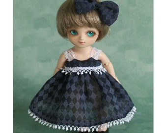 Navy Rhombus Dress for Pocket Fairy