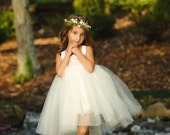 Flower Girl Dress--Burlap and Lace Wedding--Woodland Fairy Wedding--Fully Lined and Professionally Hand Sewn--Weddings--Portraits
