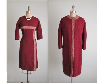 60's Vera Maxwell Dress Coat // Vintage 1960's Fitted Cranberry Wool Designer Dress Jacket Ensemble M