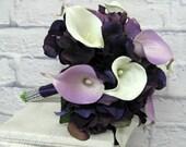Wedding bouquet Lavender purple white Real touch calla lily bridal bouquet