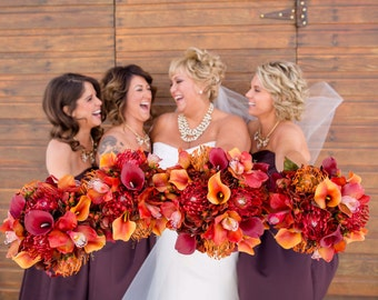 8 piece fall wedding bouquet set - Autumn wedding flowers - Bride bouquet - Bridesmaid bouquets - Boutonnieres