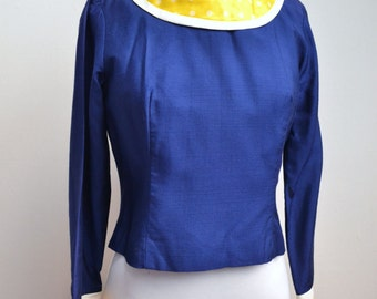 1960s Navy blue & yellow polka dot long sleeved day top / 60s spotty Spring faux silk blouse - petite S