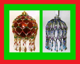 25% Off Sale - Victorian Inspired Beaded Christmas Ornament Cover Patterns - set of two Bead Stringing Tutorials - .pdf for Instant Download