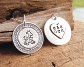 Personalized Mother and Twin Giraffe Necklace, Mom and Two Children, Heart Oval Monogram, Fine Silver, Sterling Silver Chain, Made To Order