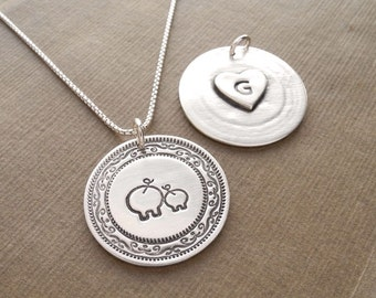 Personalized Mother and Baby Pig Necklace, Heart Monogram, New Mom Necklace, Fine Silver, Sterling Silver Chain, Made To Order