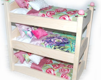 Triple  Doll Bunk Bed - Rose Garden American Made Girl Doll Bed - Fits AG Doll and 18 inch dolls