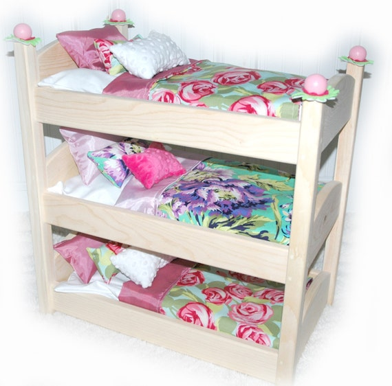 triple doll bunk bed rose garden american made by girldollbeds. Black Bedroom Furniture Sets. Home Design Ideas