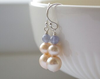 Gemstone Earrings, Genuine Tanzanite, Cultured Pearls Sterling Silver, Luxury Earrings, December Birthstone, Blue Cream, Bridal Jewellery