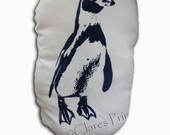 Penguin Cream Stuffie Cushion Hand Printed Linocut Handmade Sale