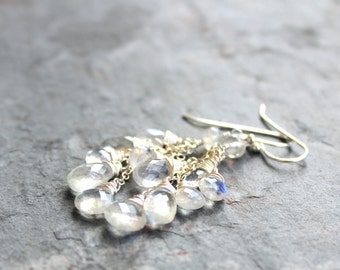 Rainbow Moonstone Earrings Cluster Cascade Gemstone Earrings Sterling Silver, June Birthstone