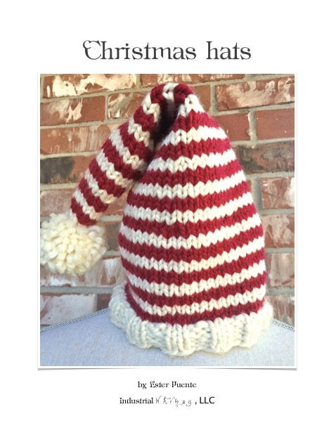Knitting Pattern Christmas Hat : Christmas Hat Knitting Pattern DIY Santa by IndustrialWhimsy