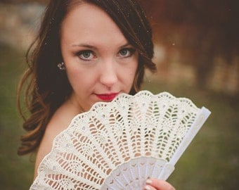 Lace Wedding folding Hand FAN in Ivory, Bridesmaid Accessory, Feng Shui Gift, Lolita, Bouquet, Photo prop, Made in America