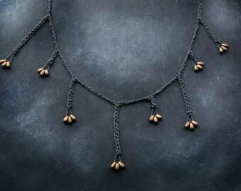 asymmetric Bronze Seeds 925k oxidized silver necklace