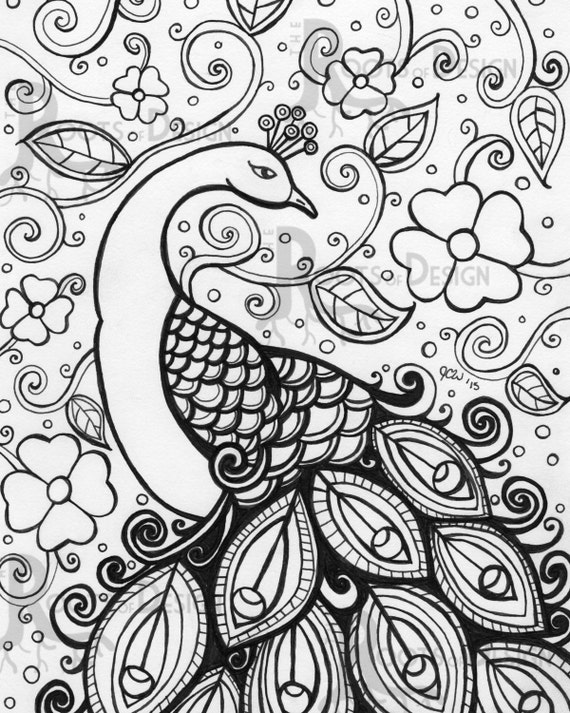 Instant download coloring page peacock zentangle by for Coloring page peacock