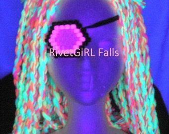 UV Blacklight Pink Cyborg Cyber Raver Cosplay Burlesque Eye Patch - Kandi