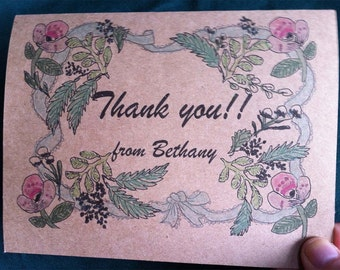 Personalized Botanical Thank you Greeting card
