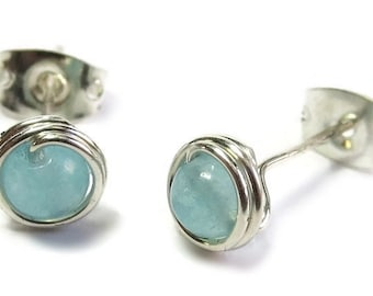 Blue Chalcedony & Sterling Silver Wire-Wrapped Stud Post Earrings