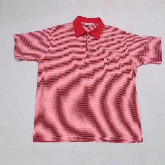 Penguin polo shirt vintage red stripe logo grand slam for Golf shirt with penguin logo