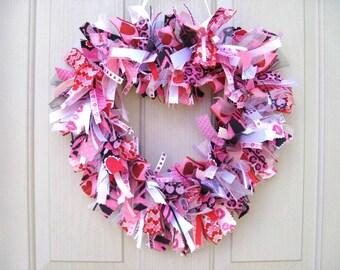 Heart Wreath, Animal Print Wreath, Leopard Zebra Decor, Valentines Day Wreath, Pink Fabric Rag Ribbon Wreath, Girls Room Bridal Shower Decor