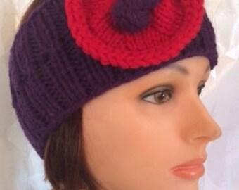 Purple Headband Purple Ear Warmer Flower Ear Warmer Purple Headband Flower Headband