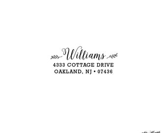 Newlywed Housewarming Stationery Wedding Gift  Personalized Custom Return Address Rubber Stamp  Or Self Inking -  Small Flower Detail