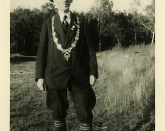 "Vintage Photo ""The Decorated Man"" Odd Weird Necklace Wearing Guy Costume Paper Ephemera Black & White Found Old Photograph Snapshot - 106"
