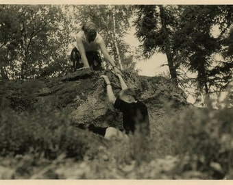 "Vintage Photo ""Helping the Fallen"" Snapshot Photo Old Antique Photo Black & White Photography Found Photo Paper Ephemera Collectible - 93"