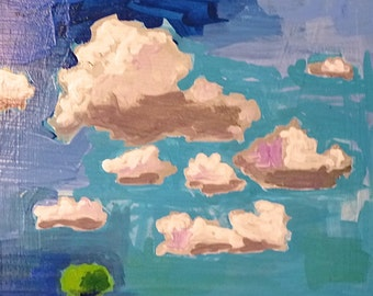 painting of clouds, landscape painting, sky, original painting